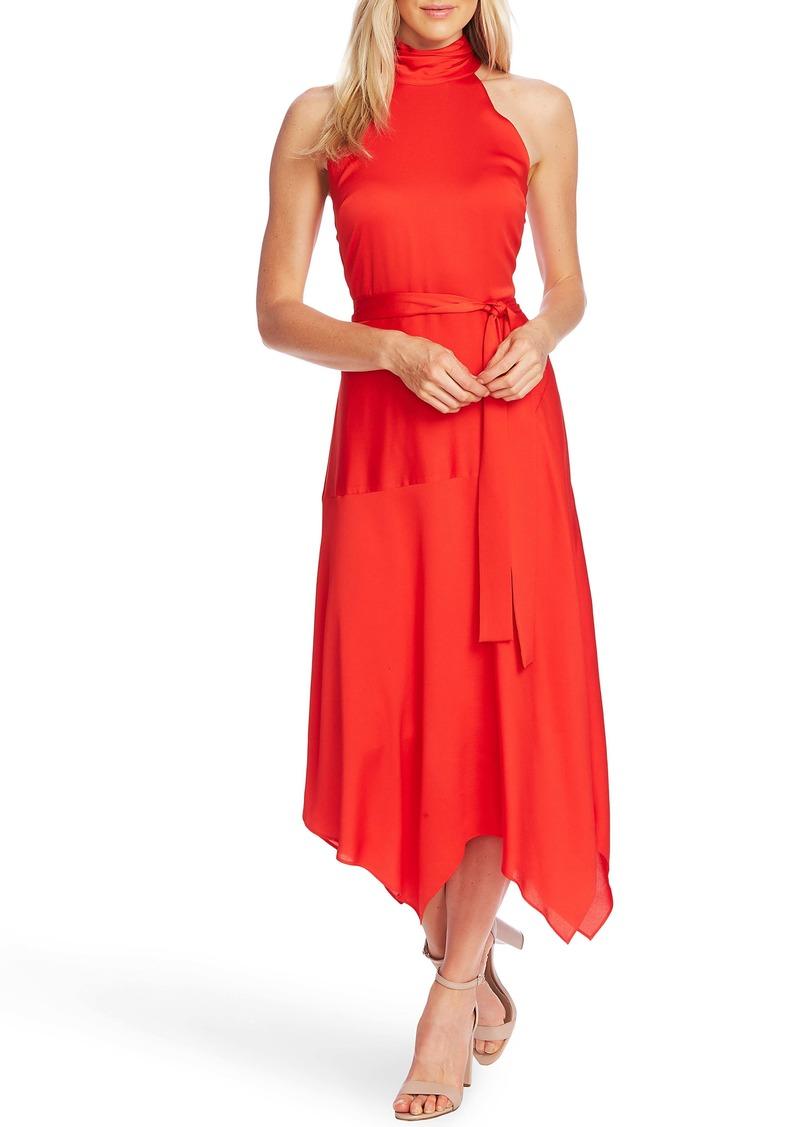 Vince Camuto Hammer Satin Sleeveless Midi Dress