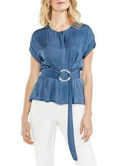 Vince Camuto Hammered Satin Belted Blouse