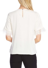 Vince Camuto Hammered Satin Feather Cuff Top