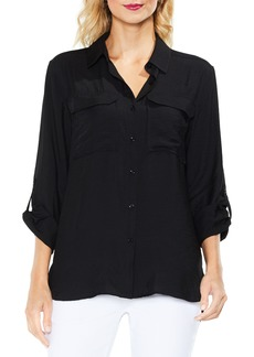 Vince Camuto Hammered Satin Utility Shirt (Regular & Petite)