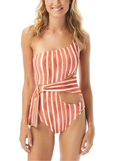 Vince Camuto Hammock Stripe Printed One Shoulder Wrap One-Piece Swimsuit Women's Swimsuit