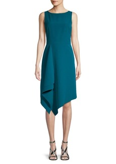 Vince Camuto Handkerchief-Hem Crepe Sheath Dress