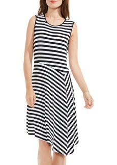 Vince Camuto Havana Stripe Asymmetrical Drape Dress