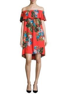 Vince Camuto Havana Tropica Off-the-Shoulder Dress