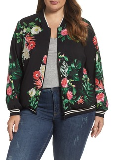 Vince Camuto Havana Tropical Bomber Jacket (Plus Size)