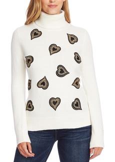 Vince Camuto Heart-Embellished Turtleneck Sweater