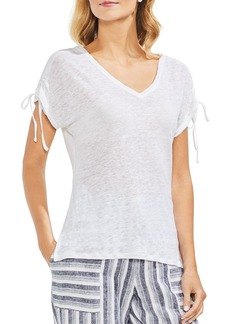 VINCE CAMUTO Heathered Linen Drawstring-Sleeve Tee