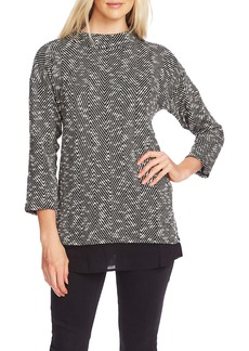 Vince Camuto Herringbone Mock Neck Bouclé Top