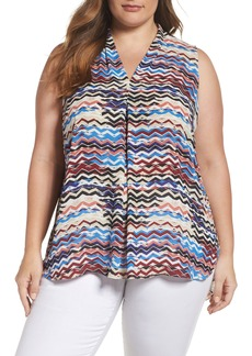 Vince Camuto Herringbone Muses Pleat Front Top (Plus Size)