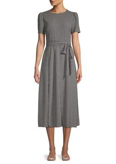 Vince Camuto Herringbone Short-Sleeve Tie-Waist Dress