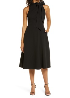 Vince Camuto High Bow Neck Sleeveless A-Line Dress