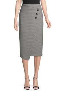 Vince Camuto High-Rise Houndstooth Button-Front Midi Skirt