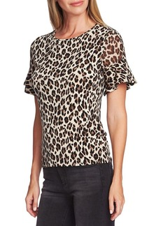Vince Camuto Highland Leopard-Print Ruffled-Sleeve Top