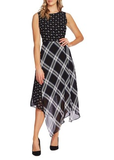 Vince Camuto Highland Mixed-Print A-Line Dress
