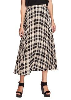 Vince Camuto Highland Plaid Pleated Midi Skirt