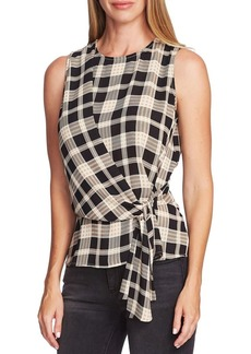Vince Camuto Highland Tie-Front Plaid Blouse