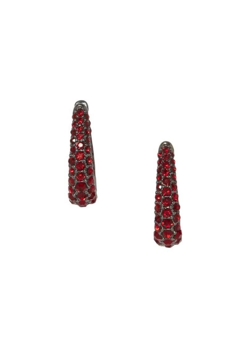Vince Camuto Hinged Ruby-Colored Pavé Crystal Huggie Earrings
