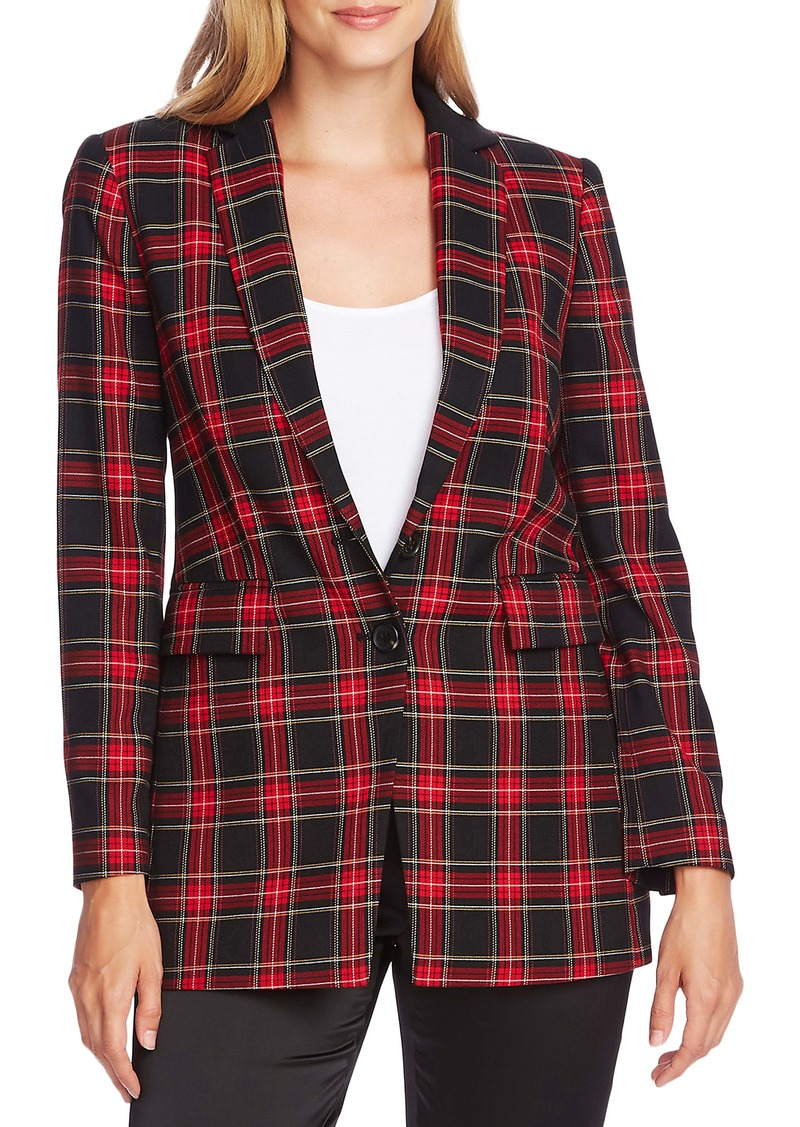 Vince Camuto Holiday Tartan Notch Collar Blazer