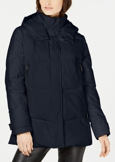 Vince Camuto Hooded Double Zipper Puffer Coat