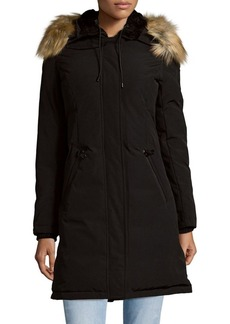 Vince Camuto Hooded Faux Fur-Trimmed Down Coat