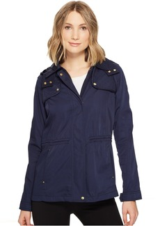 Hooded Lightweight Parka with Drawstring Waist