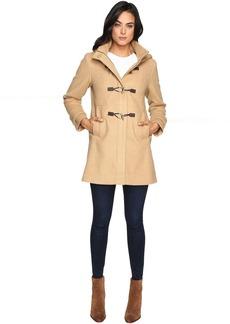 Hooded Toggle Closure Wool Coat L8311