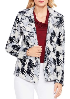 Vince Camuto Houndstooth Faux Fur Jacket
