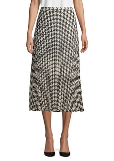Vince Camuto Houndstooth Pleated Skirt