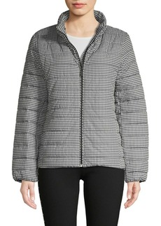 Vince Camuto Houndstooth Zip-Front Puffer Jacket