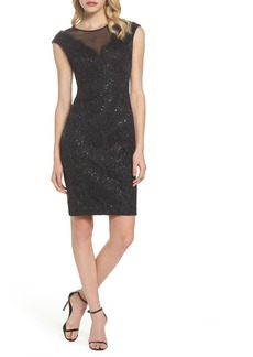 Vince Camuto Illusion Neck Lace Sheath Dress