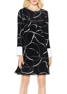 Vince Camuto Ink Swirl Mix Media Fit & Flare Dress