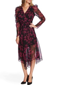 Vince Camuto Iris Long Sleeve Chiffon Wrap Dress