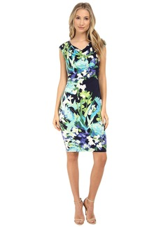 Vince Camuto Ity Floral Print Sleeveless Drape Neck Dress