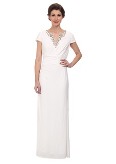 Vince Camuto Ity Gown with Cap Sleeve and Beading