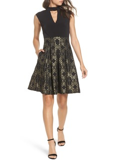 Vince Camuto Ity Jacquard Fit & Flare Dress (Regular & Petite)