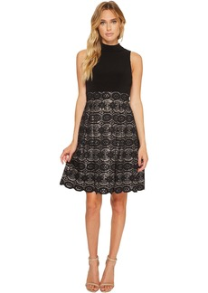 Vince Camuto Ity Mock Neck Twofer w/ Bonded Lace Skirt