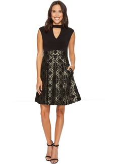 Vince Camuto Ity Top w/ Jacquard Pleated Skirt Dress