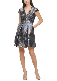 Vince Camuto Jacquard Cap-Sleeve Fit & Flare Dress
