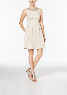 Vince Camuto Jacquard Embellished Fit & Flare Dress