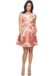 Vince Camuto Jacquard Extended Cap Fit and Flare Dress