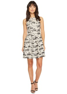 Vince Camuto Jacquard Sleeveless Fit and Flare Dress
