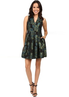 Vince Camuto Jacquard V-Neck Sleeveless Fit and Flare