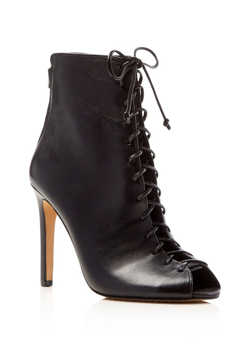 VINCE CAMUTO Kelby Lace Up Peep Toe High Heel Booties