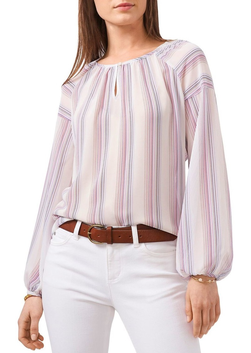 VINCE CAMUTO Keyhole Front Striped Peasant Blouse