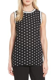 Vince Camuto Knit Trim Dot Print Blouse