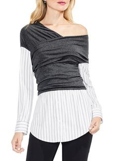 Vince Camuto Knit Wrap One-Shoulder Blouse