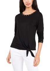 Vince Camuto Knot Front Embellished Top