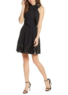 Vince Camuto Bow Neck Fit & Flare Dress