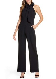 Vince Camuto Bow Neck Stretch Crepe Jumpsuit