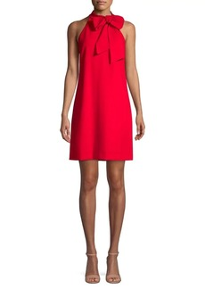 Vince Camuto Crepe Bow Halterneck Shift Dress